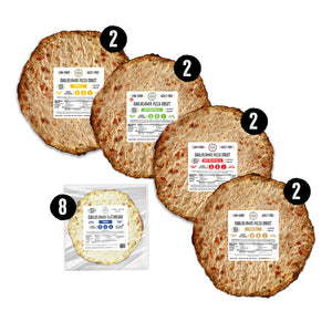 Lite Meal Kit Image with 4 flavors of Cali'lite cauliflower pizza crusts and 8 single plain flatbreads
