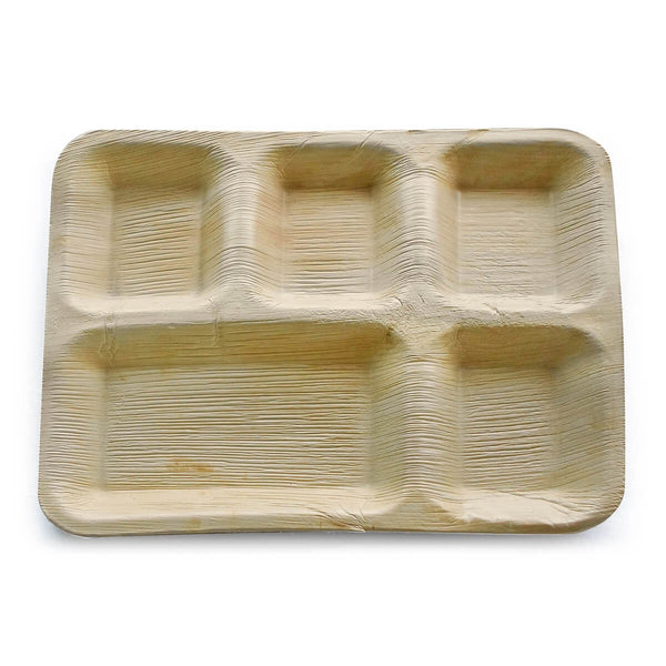 12×10 inches Areca palm plate – 5 Compartments