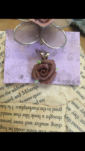 Brown Cold Porcelain Rose Pendant