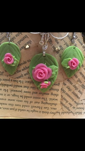 Hot Pink Cold Porcelain Rose Pendant and Earring set