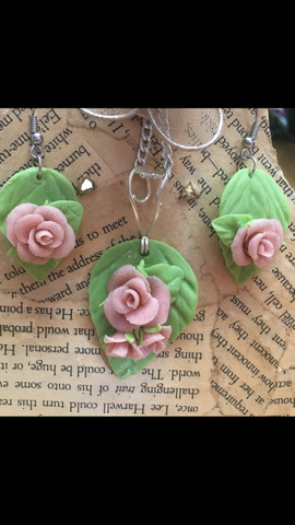 Light Dusty Rose Pendant and Earring set