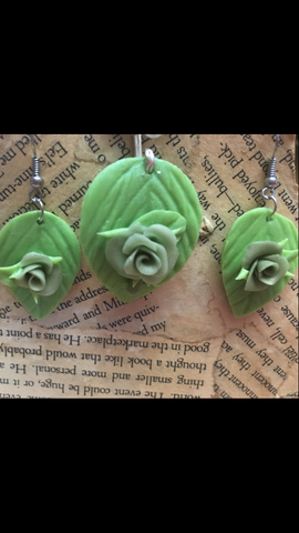 Light Green Cold Porcelain Pendant and Earring set