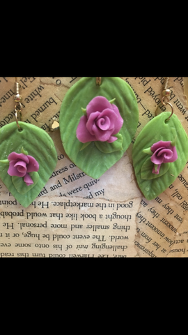 Purple Cold Porcelain Rose Pendant and Earring set