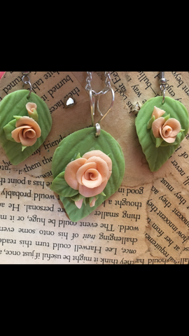 Peach Cold Porcelain Rose Pendant and Earring set