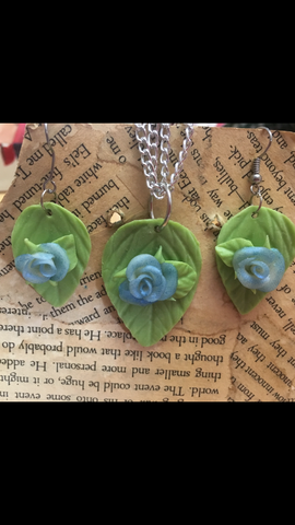 Blue Cold Porcelain Rose Pendant and Earring set