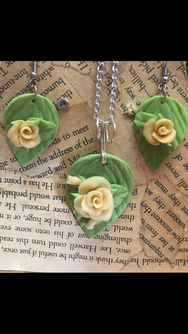 Yellow Cold Porcelain Rose Pendant and Earring set