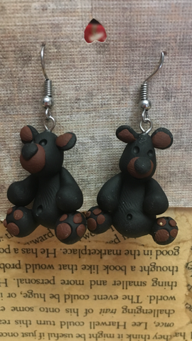 Polymer Clay Black Bear Earrings