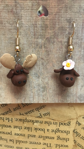 Polymer Clay Moose Earrings
