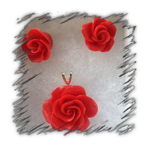 Red Cold Porcelain Earring and Pendant set