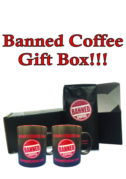 Banned Coffee Gift Basket - 2 Mugs + 1 Bag of Banned Coffee World's Strongest Coffee (Ground 10 oz)