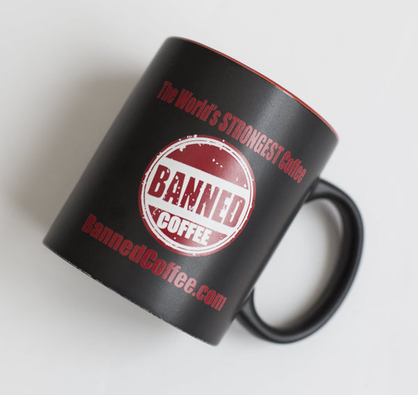 Banned Coffee Mug - 1 Mug in High Quality Gloss Black Box Ideal for Gifts