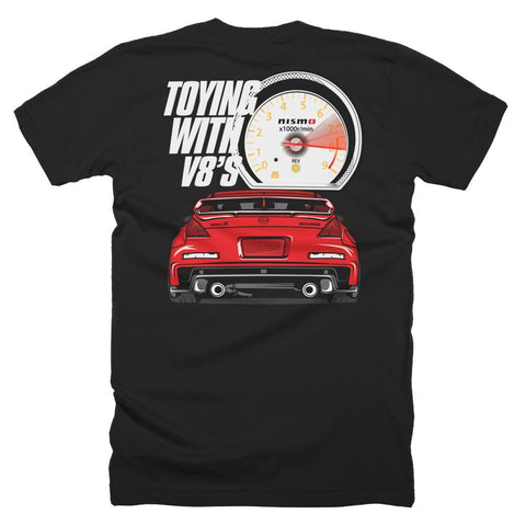 TOYING WITH V8'S (BACK) T-SHIRT