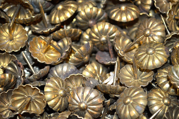 "Antique Large French Decorative Upholstery Tacks Brass 11/16"" Nailheads Hardware"