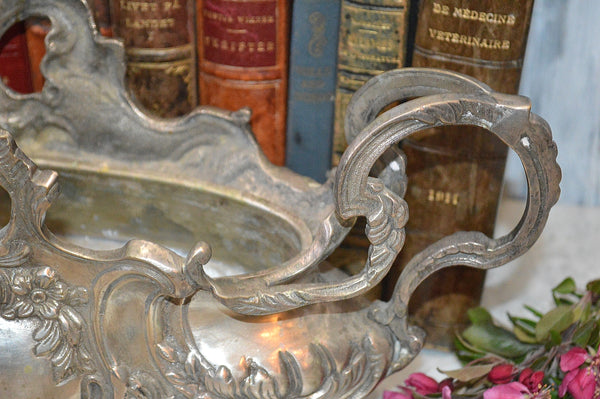 Antique French Silver Large Jardiniere Art Nouveau Footed Urn With Liner