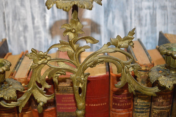 Antique French Candelabra Figural Bronze Floral Candle Holder Triple Arm