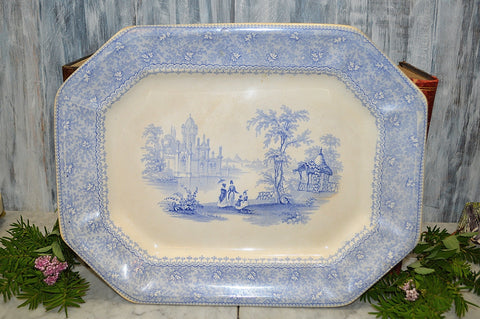 Antique English Blue Transferware Platter EA&SR Filley St Louis By Mayer Staffordshire 1800's