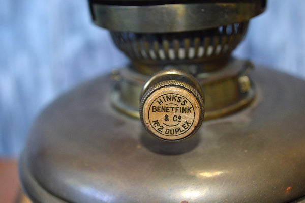 Antique Brass Cherubs Oil Lamp Hinks & Sons Benet Fink No. 2 Duplex