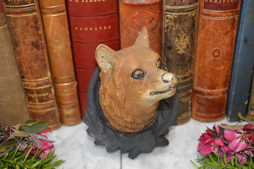Antique German Fox Head Black Forest on Wood Shield Mount