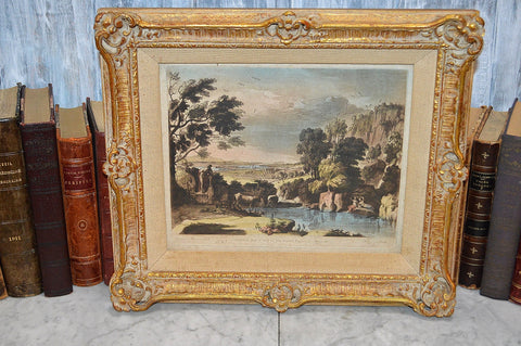 Antique Claude Lorrain Boydell French 1775 Landscape Art Engraving Framed