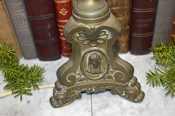 Antique French Bronze Church Altar Candle Lamp Religious Figures