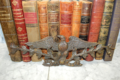 Antique French Bronze Eagle Pediment Mount Leaf Garlands