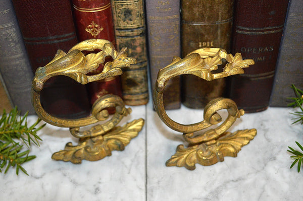 Antique Pair French Drapery Tie Backs Acanthus Hooks Bronze Ormolu Hardware