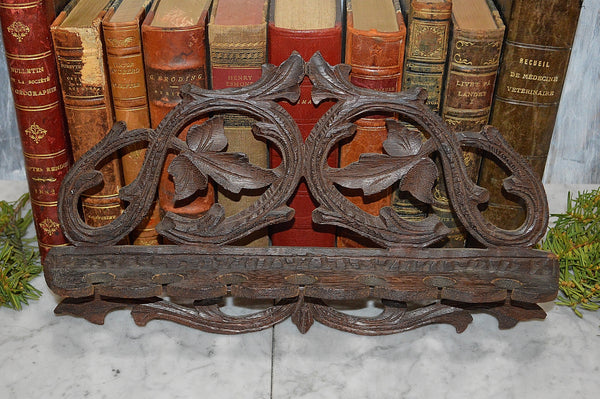 Antique German Carved Wood 7 Pipe Rack Holder Black Forest Wall Mount