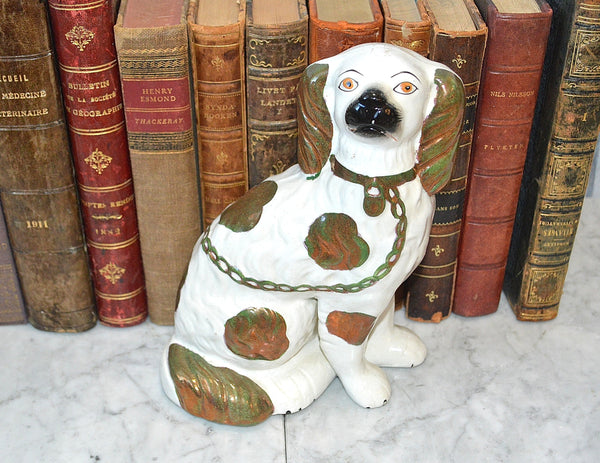 "Vintage Staffordshire English 8"" Dog Copper Lustre Brown Spaniel"