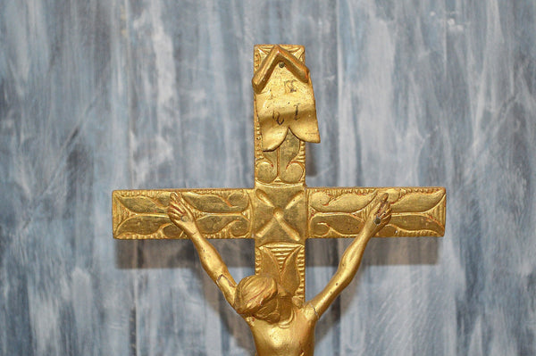 Antique German Gilded Crucifix Carved Wood Religious Cross Saints Tomb