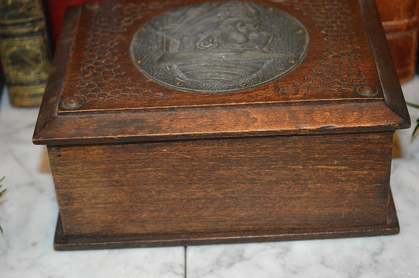 Antique French Breton Carved Wood Dresser Box Figural Male Medallion