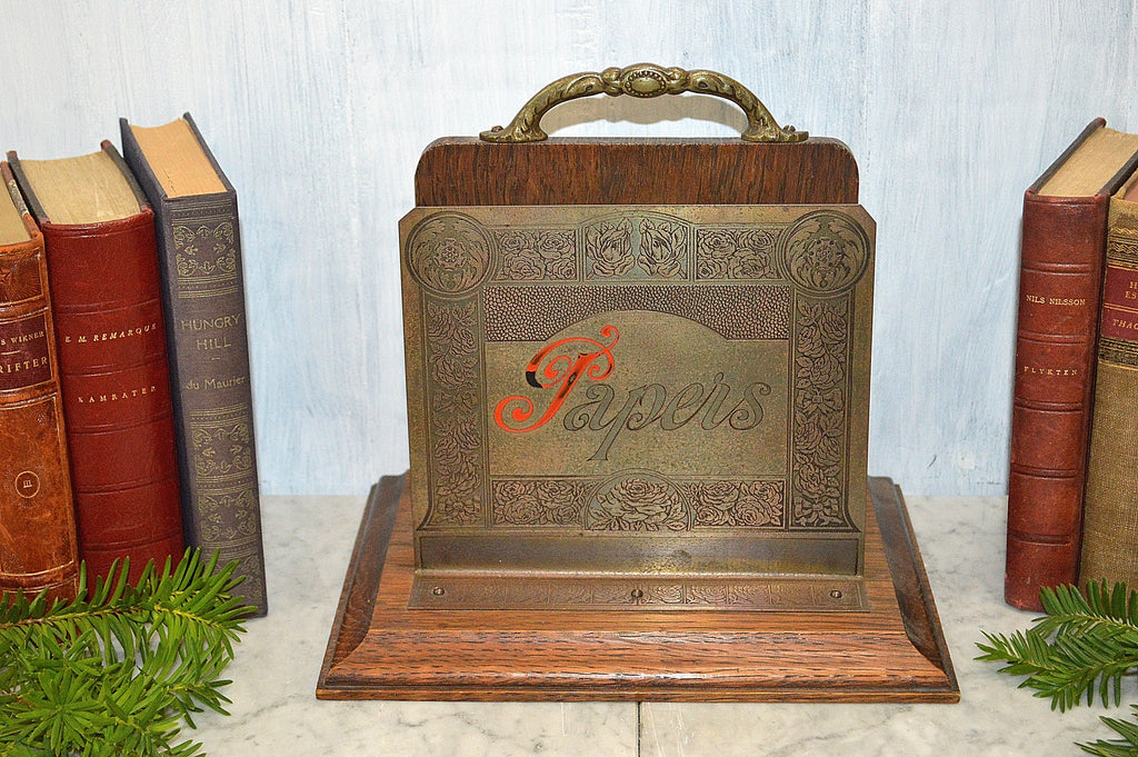 Antique Desk Organizer Art Nouveau Papers Letter Sorter Brass Oak Rack