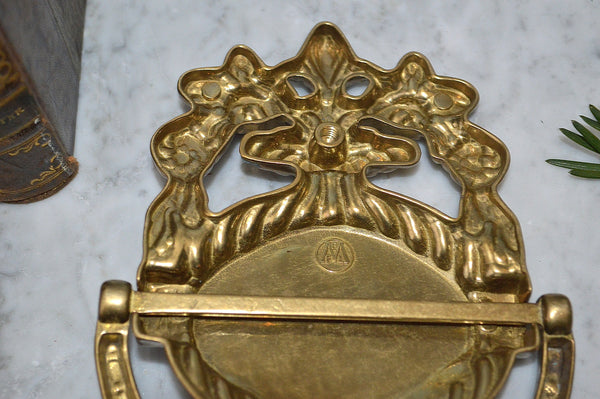 Vintage French Door Knocker Traditional Style Lion Head Brass Hardware