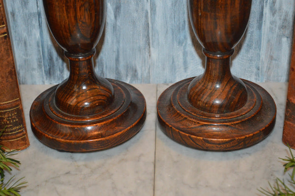 Antique Pair English Turned Wood Candlesticks Oak Candle Holders Bun Feet