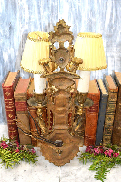 Antique French Style Light Fixture Wall Mount Sconce Gilt Bronze Two Arm