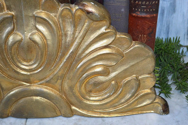 Antique French Pediment Gilded Gilt Wood Arched Baroque