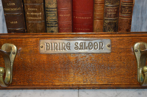 Antique Dining Saloon Sign Wood Coat Hat Rack Shelf With 4 Brass Hooks