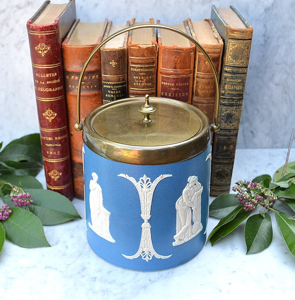 Antique Jasperware Dudson English Biscuit Barrel Jar EPNS Blue Dip Jasper