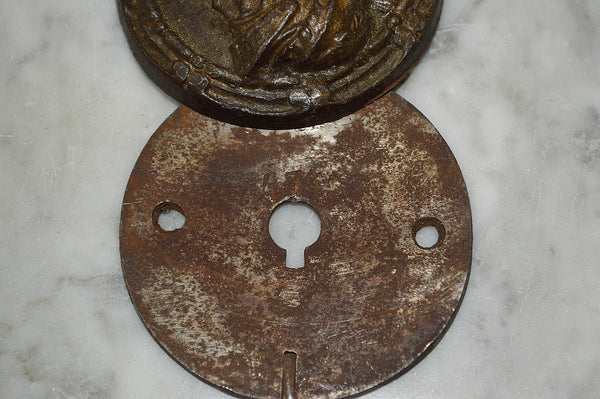 Antique French Cast Iron Safe Cover Keyhole Figural Soldier Escutcheon