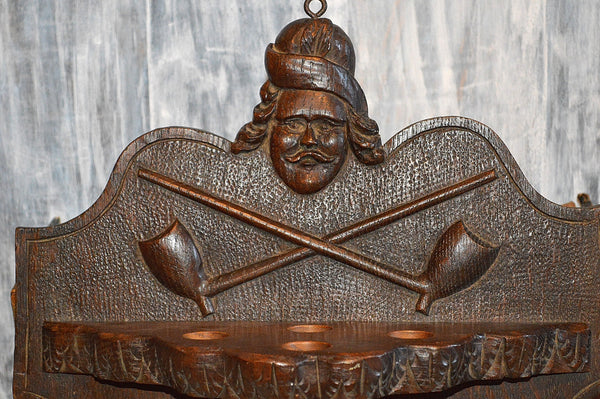 Antique German Carved Wood Pipe Tabak Rack Holder Black Forest Figural Wall Plaque