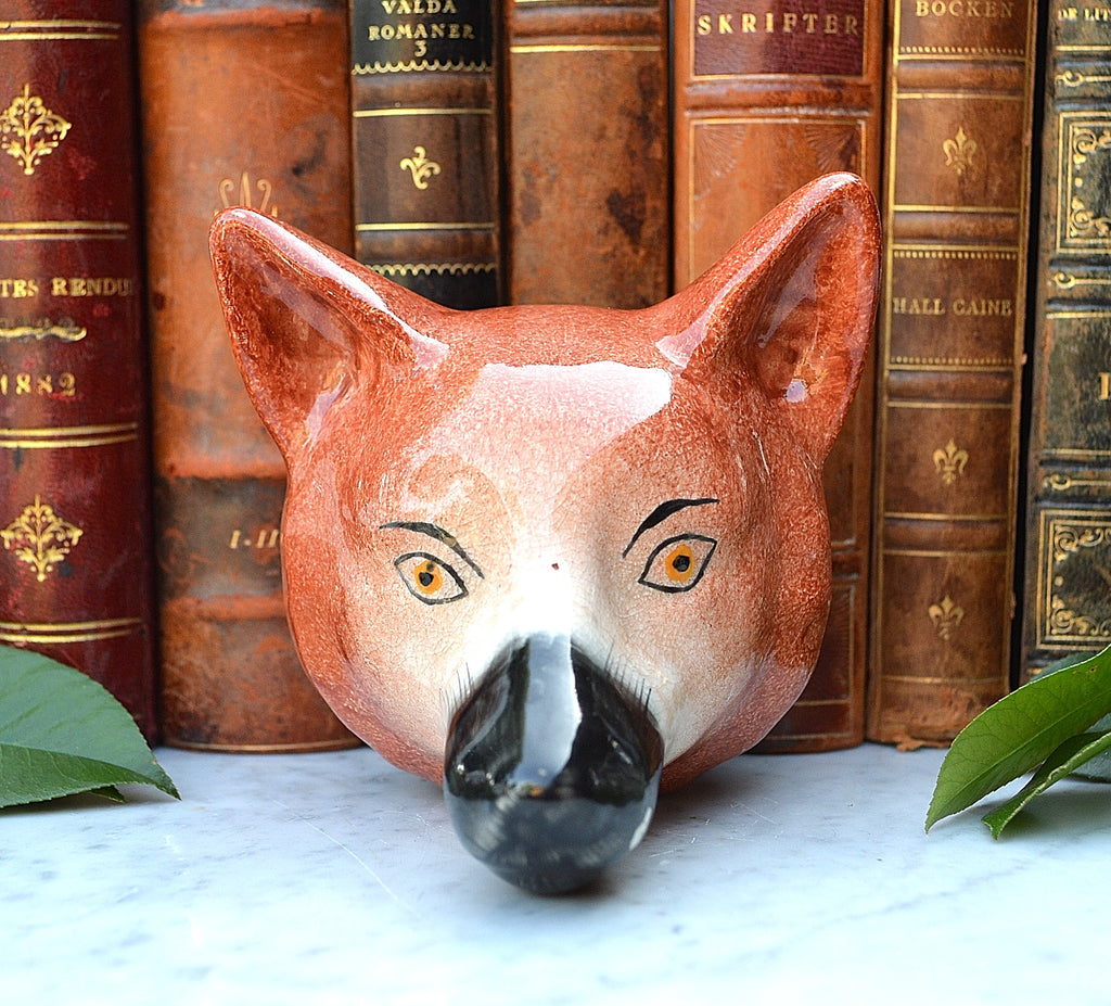 Antique English Staffordshire Pottery Fox Head Stirrup Cup For The Hunt