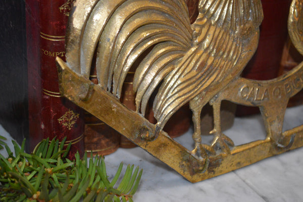 Antique French Roosters Kitchen Brass Towel Hook Utensils Rack