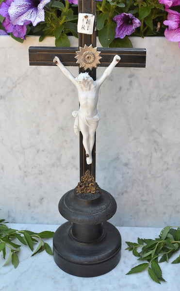 Antique German Turned Wood Crucifix Religious Altar Cross Porcelain Jesus