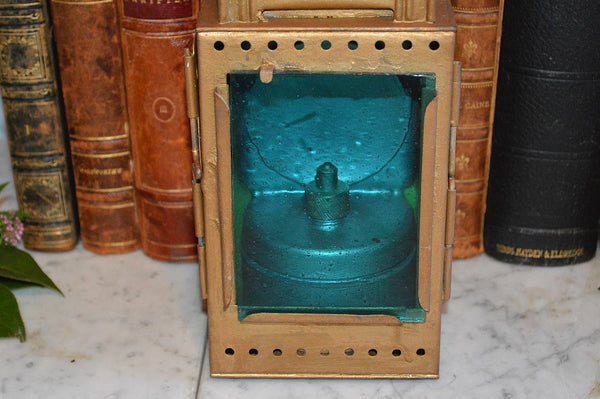 Antique German Heinrich Gillet Railroad Lantern Signal Lamp Red Blue Glass
