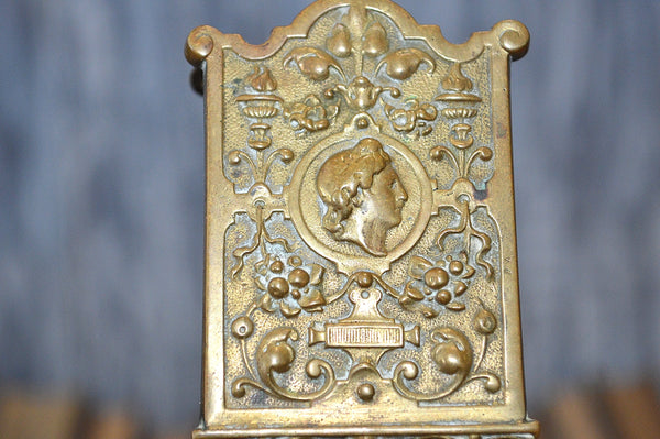 Antique French Gothic Figural Match Safe Holder Stand Gilt Bronze