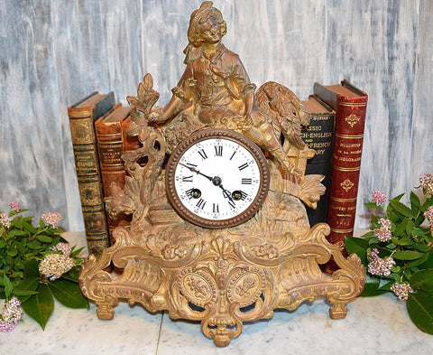 Antique 1800's Brunfaut French Mantle Clock Gilt Figural Statue