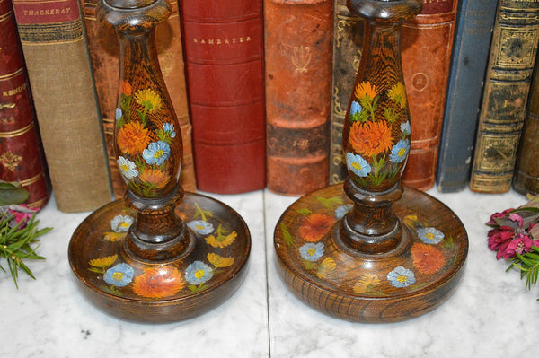 Antique Pair English Turned Wood Candlesticks Oak Candle Holders