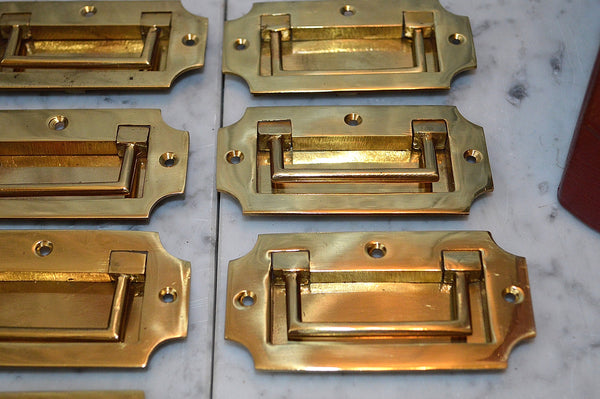 Vintage English Campaign Chest Flush Mount Drawer Pull Handle Hardware