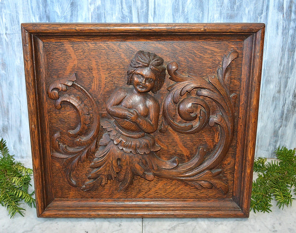 Antique French Figural Cherub Framed Carved Wood Plaque Panel