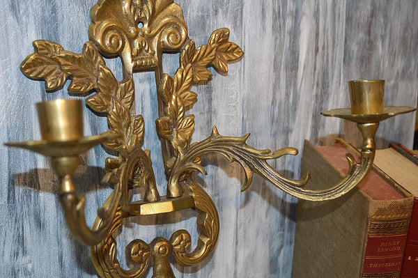 Antique Pair Shell Motif Candle Sconces Holder Brass Two Arm Wall Mount