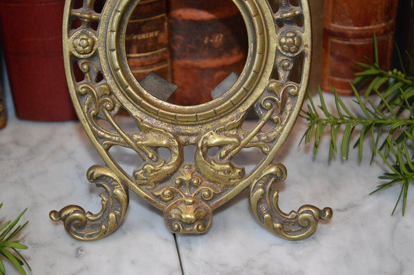 Antique French Pocket Watch Clock Stand Frame Holder Brass Figural